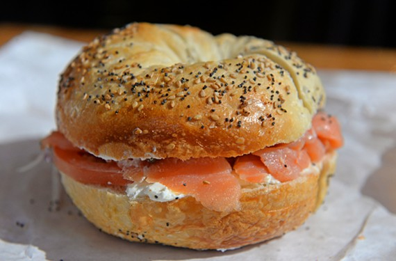Lox with the works on an everything bagel at Nate's features brined salmon, capers, tomato, red onion and cream cheese.