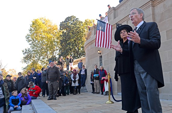 Re-enactors portray Virginia-born wartime president, Woodrow Wilson, and his second wife on the Carillon steps at the Armistice Day Festival. The two came from the Edith Bolling Wilson Foundation Museum and Birthplace in Wytheville.