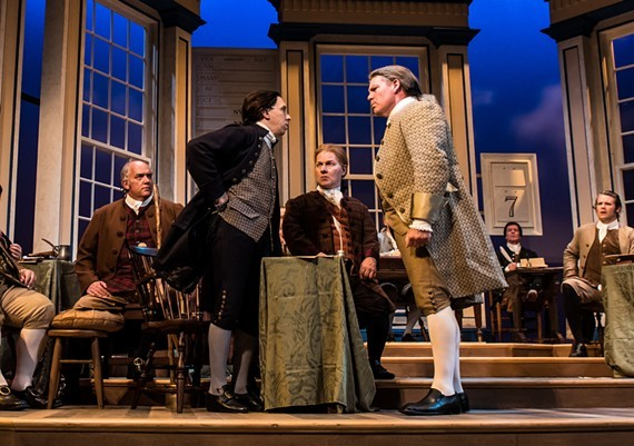 "Andrew C. Boothby (Col. Thomas McKean), Scott Wichmann (John Adams), John Winn (George Read), and Jody Ashworth (John Dickinson) in Virginia Rep's production of ""1776, The Musical"" from 2016."