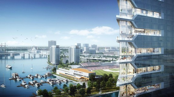 A rendering of the proposed casino site along the Norfolk waterfront near Harbor Park.