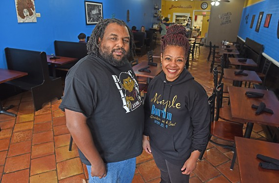 Poet Jamil Jasey stands with Jaynell A. Pittman-Shaw, owner of Maple Bourbon at 1116 E. Main St, the setting for a new open-mic series that starts Jan. 26.
