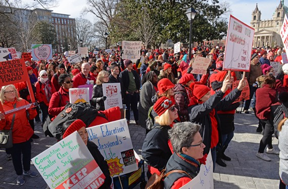 Educators, parents and students march from Monroe Park to the Capitol to demand more funding for public schools.