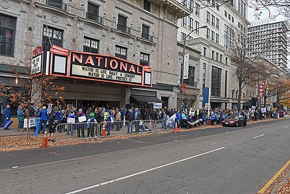 (FILE) An old file photo of The National venue in downtown Richmond from November of 2017 during a Water is Life rally.