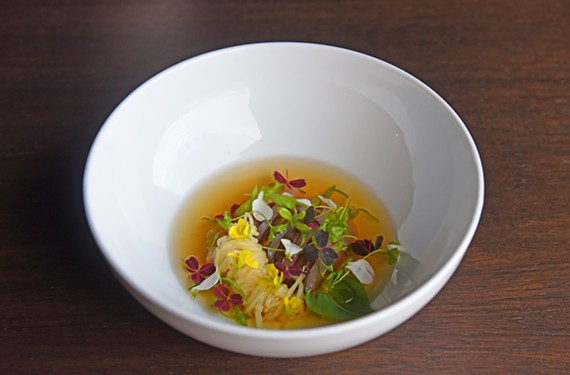 The cured rockfish at Longoven features shiitake mushrooms and mushroom-scallop dashi.