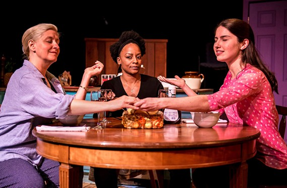 "The actresses do great work together: Annie Zanetti as Dean Wreen, Shaneeka Harrell as Greer and Meg Carnahan as Andromeda in Richmond Triangle Players' ""Seven Homeless Mammoths Wander New England."""