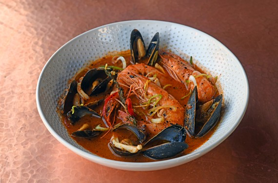 The zarzuela de mariscos is a tomato-based stew featuring all manner of seafood.