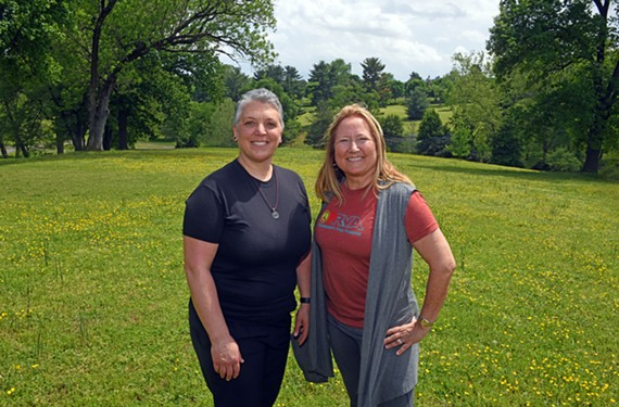 Co-founders Stephanie Quinby and Sue Agee stand in Maymont Park, the site of their third annual Peace Love RVA Yoga Festival. It will feature music, vegetarian food, local merchants and yoga classes on Saturday, May 4.