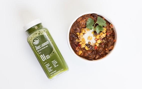 The Juice Laundry, with locations in Charlottesville and Washington, D.C., serves up cold-pressed juices and other items like vegan chili.
