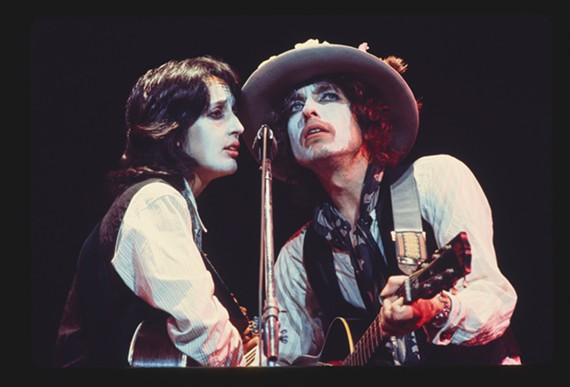 Former lovers Joan Baez and Bob Dylan from the Rolling Thunder tour in 1975-1976.