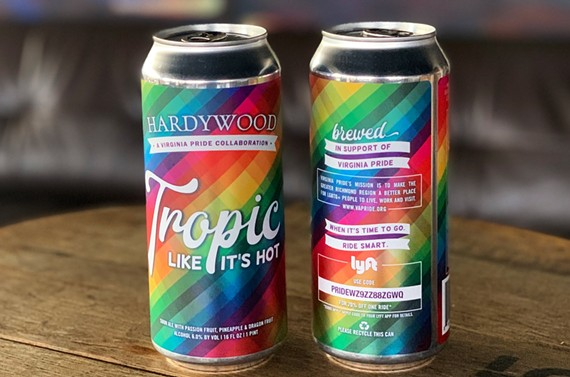 Tropic Like It's Hot is a collaboration between Hardywood Park Craft Brewery and Virginia Pride.