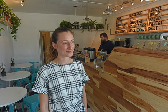 Ruslana Remennikova's new shop, Pulp Fiction Lakeside, serves up smoothies, coffee, sandwiches and pastries.