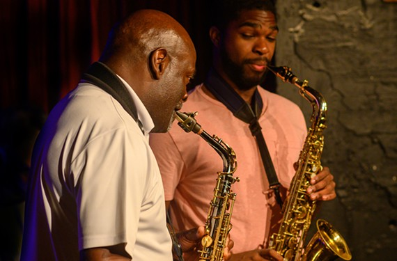 "Richmond's James ""Saxsmo"" Gates performs with his student and rising local star Dexter Moses. They perform at the Dark Room on Tuesday, Aug. 6."