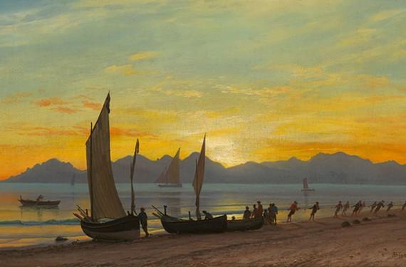 """""""Boats Ashore at Sunset"""" by Albert Bierstadt"""