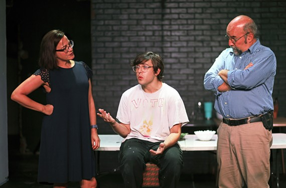 "Donna Marie Miller, Tyler Stevens and David Clark rehearse for ""Admissions"" by playwright Joshua Harmon."