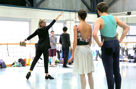 "Artistic Director Stoner Winslett leading Richmond Ballet dancers in rehearsal for ""Ancient Airs and Dances."""