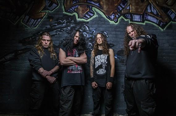 The current members of veteran death metal group Morbid Angel, based in Tampa, Florida: Dan Vadim Von, Trey Azagthoth, Scott Fuller and Steve Tucker.