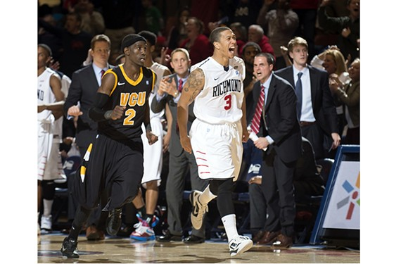 Former Spider Darien Brothers, a Benedictine standout, celebrates after a big shot in the 2013 rivalry game with VCU. The teams meet again on Tuesday, Jan. 28 at the Siegel Center.