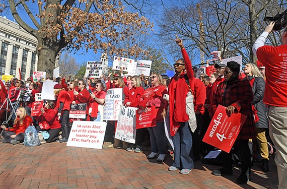 Teachers from across Virginia gather for the Fund Our Future Rally at the state Capitol. Virginia ranks 40th in state spending per pupil.
