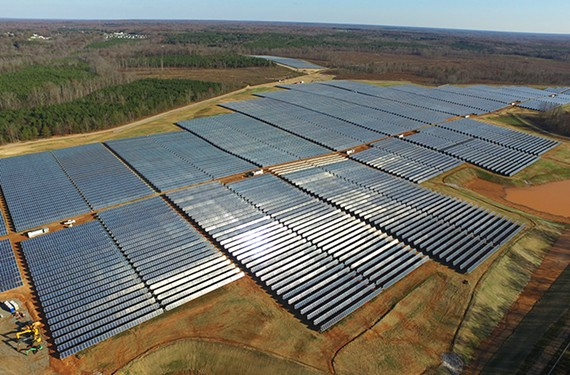 Dominion Energy's Scott Solar project features a field of panels on 165 acres in Powhatan County.