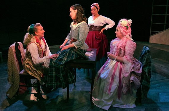 "Actresses Maggie Roop, Lydia Hynes, Katrinah Carol Lewis and Maggie Bavolack do confident and assured work in TheatreLab's ""The Revolutionists."""