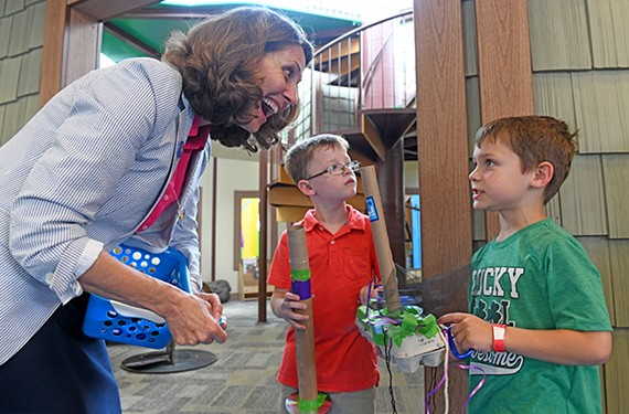 First lady of Virginia Pamela Northam talks to kids at the Children's Museum of Richmond during its Rev Your Bev Day Early Childhood Education Flagship event.