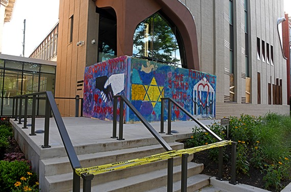 During protests from the last weekend of May, a brick was thrown through a window of Congregation Beth Ahabah at 1121 W. Franklin St., one of the oldest synagogues in the United States.