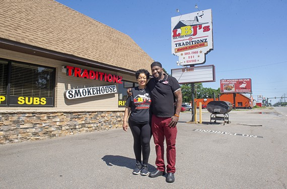 Barbara Bryan and Sam Campbell stand outside their soul food restaurant, LBJ's @ Traditionz Smokehouse, at 4810 Jefferson Davis Highway.