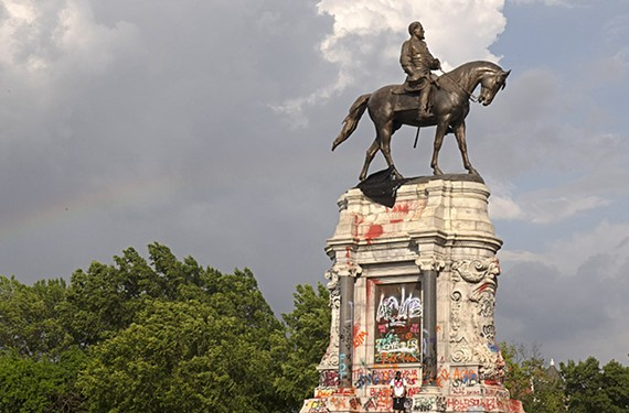 The Robert E. Lee statue on Monument Avenue (designed in 1890 by Parisian artist Antonin Mercie) as it appeared earlier this month.
