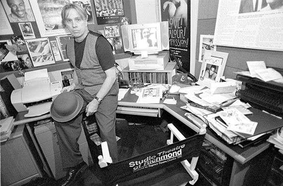 Strawderman in his Barksdale Theatre office at Willow Lawn in September 2000.