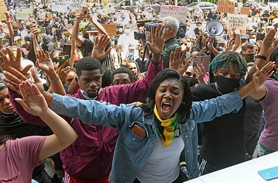 Hundreds gathered at City Hall on June 2 to protest the police's use of tear gas on protesters.