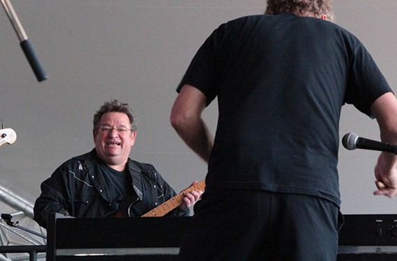 A shot of a thrilled Jim Wark, filling in last minute with rockabilly artist Jason D. Williams at the Richmond Folk Festival in 2016.