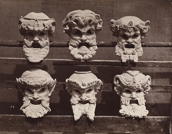 """Masks for the vestibule of the Paris Opera"", ca. 1870, printed 1876, Louis-Émile Durandelle (French, 1839–1917), albumen print."