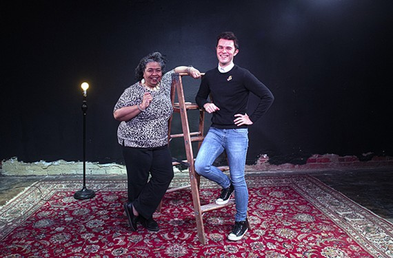 Dr. Tawnya Pettiford-Wates, founder of the Conciliation Project, stands with Deejay Gray, artistic director of TheatreLab, inside the Basement, the venue at 300 E. Broad where TheatreLab stages its plays.