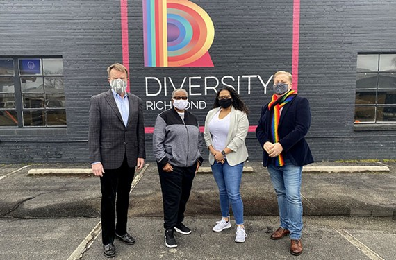 """The all-volunteer Virginia Pride is officially becoming a program of Diversity Richmond in a major merger. Shown here are Bill Harrison, Luise """"Cheezi"""" Farmer, Stephanie Merlo and James R. Millner II."""