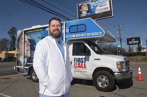 Chris Chandler, the founder of local delivery service Chop Chop RVA, and Mike Damon (not pictured), who works in the medical device world, have recently opened three drive-thru COVID-19 Test Here facilities across the tri-county area.