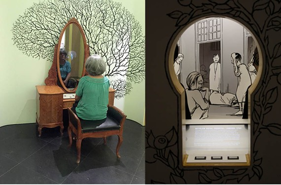 """A mirrored vanity teaches how the brain causes depression or psychosis. Right: A mini diorama on the history of London's Bethlem Royal Hospital – both part of the Science Museum's """"Mental Health: Mind Matters."""""""