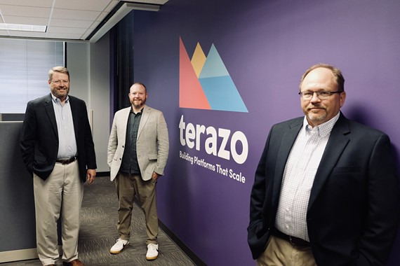 Partners at local cloud software firm, Terazo: CFO George Boatright, Chief Digital Officer Chris Busse and CEO Mark Wensell.