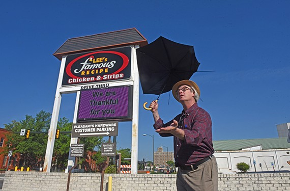 """Richmond Magazine senior writer Harry """"the Hat"""" Kollatz Jr. posted his final Lee's Chicken Sign Weather Report on May 20."""