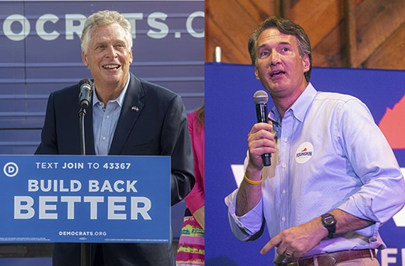 Left: Democratic candidate and former Gov. Terry McAuliffe. Right: Republican gubernatorial candidate Glenn Youngkin.