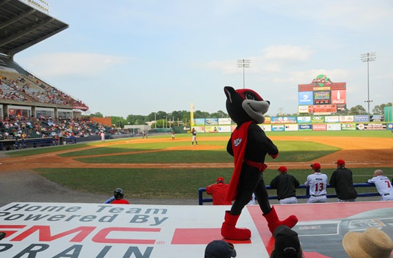 Nutzy feels his oats at the first game of the Richmond Flying Squirrels in April 2010. These days, the team isn't getting such good vibes.