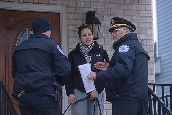 Richmond Police Chief Alfred Durham walks the Randolph area with his officers, soliciting feedback and distributing literature during an earlier public safety campaign.