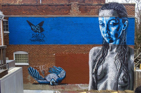 """Icarus Fallen,"" by local muralist Nils Westergard is behind 821 Café on West Cary Street. The artist joins the lineup for this year's Richmond Mural Project."