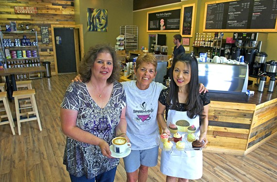 Main Street Coffee's Jeni Weinrich, Margaret Doyle of Espresso-A-Go-Go and Pink Belle Cake House's Eunice Kim all work together to create the total coffeehouse experience.