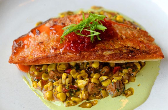 Along with comfort food favorites, Family Meal offers sophisticated dishes that include this red snapper over corn maque choux, cilantro-lime aoli and red pepper jam.