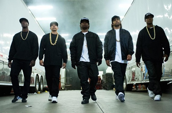 Tipper Gore's favorites from Compton, the gangster-rap crew N.W.A.: MC Ren (Aldis Hodge), DJ Yella (Neil Brown Jr.) Eazy-E (Jason Mitchell) Ice Cube (O'Shea Jackson) and Dr. Dre (Corey Hawkins).