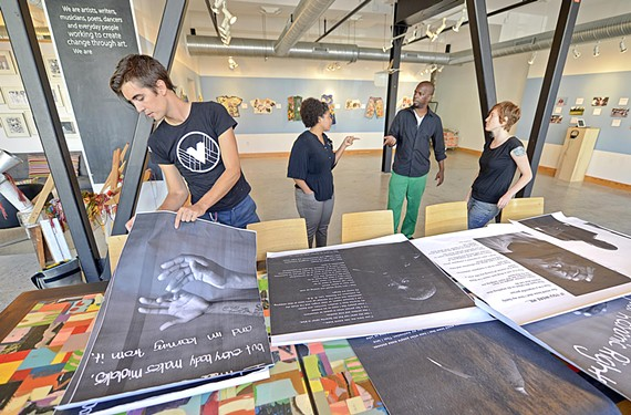 Local advisers on the Performing Statistics art project with incarcerated teenagers include VCU graduate Mark Strandquist, Art 180 Program Director Takia Glass, local DJ Mike Kimetic and screen printer Molly Fair.
