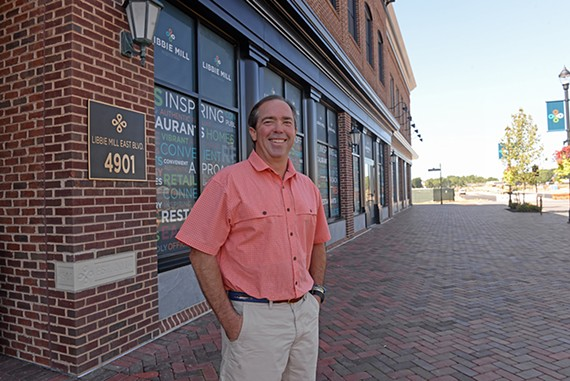 Lemaire chef Walter Bundy stands outside what will become his new restaurant at Libbie Mill-Midtown this spring.
