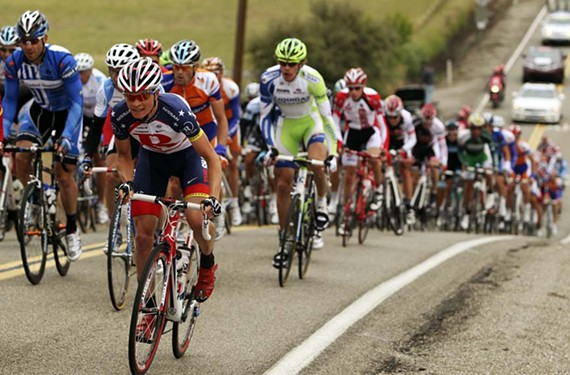 During the Amgen Tour of California in 2011, U.S. time-trial champion Ben King, a Richmond native (front), climbs hard in the mountains of San Jose County. He'll be a local favorite to watch next week.