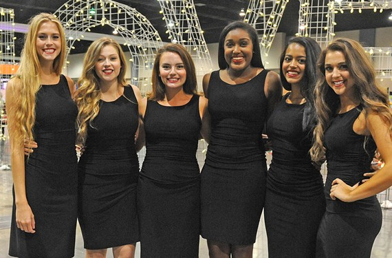 Students from VCU's Phi Mu sorority are helping with the tour hostess tradition at the UCI Road World Championships in Richmond: Alyssa Mitchell, Ellie Bailey, Georgia Cipriani, Cameran Garland, Tahlia Marinez and Elyse Duani.