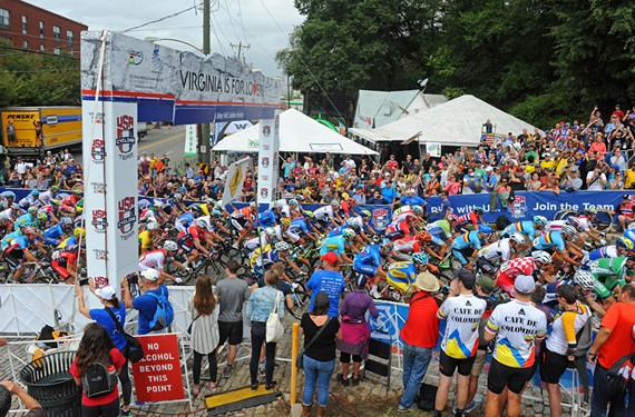 Cyclists in the elite men's road race climb toward Libby Hill Park on Sunday.